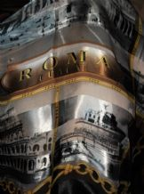 "LADIES ELEGANT SILKY SCARF ITALY ROMA SCENE PRINTS GREY GOLD BLACK 40"" SQUARE"